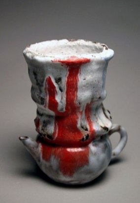 """Tea Cup, 6""""h x 4.5""""w x 4""""d, Yixing teapot, clay and glazes, 2004"""
