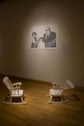 """Installation at Fleisher, press molded porcelain rocking chairs, three color screen print, 48"""" x 25"""", 2009"""
