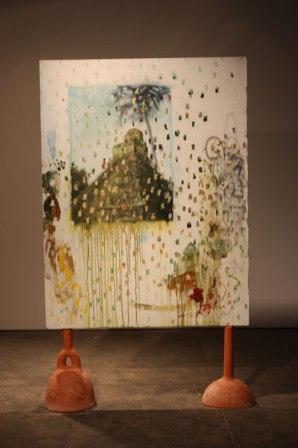 """earthenware, acrylic on paper on panel, 60"""" x 24"""" x 16"""", 2009"""