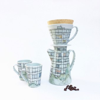 "Variable dimensions, Pour-over 9"" H x 6"" W x 4"" D, cone 10 Reduction Fired Porcelain, 2016"