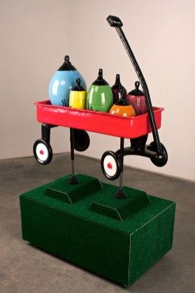 """2013, Ceramic, glazes, wood, metal, Astroturf, rubber, 55""""x 48""""x 24"""""""