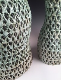 Stoneware, glaze, slips, oxides Cone 6 Reduction, double wall, hand-built 34h x 15w x 16d inches each
