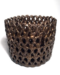 Stoneware, glaze, Cone 6 Oxidation, double wall, hand-built, 13h x 12w x 12d inches