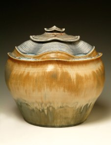 "Porcelain, wheel thrown and wet altered, Cone 10, oxidation fired, H: 11"" x D: 12""
