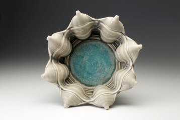 """Porcelain, wheel thrown and wet altered, Cone 10, oxidation fired, D: 14"""" x H: 8"""", 2014"""