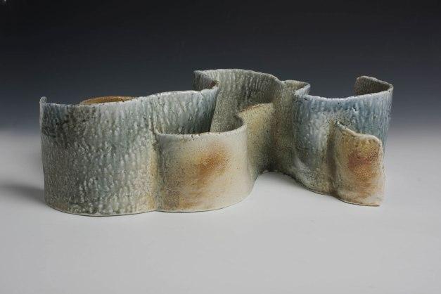 """23"""" X 11.5"""" X 7.5"""", woodfired saltglazed porcelain, 2016"""