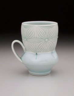 """Porcelain with carved pattern, 4.5H x 4.5W x 3.5D"""""""