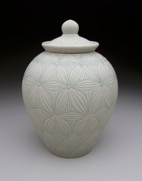 """Stoneware and porcelain slip with carved pattern, 16H x 9.5W x 9.5D"""""""