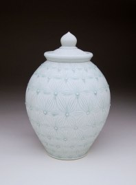 """Porcelain with carved pattern, 15H x 9W x 9D"""""""