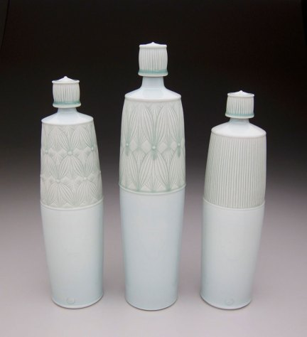 """Porcelain with carved pattern, 16H"""""""