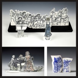 """All three pieces were created after sketches I always create in my program guides at Boston Symphony Concerts. All were created in Denmark at the wonderful International Ceramic Research Center, Guldagergaard during my 2 residencies in 2011, and during my second residency in 2012, when I made the nesting pitchers with in-glaze, twice glaze fired transfer decals.. The nesting pitchers, are my own designs, first created in plaster, then cast from positive plaster forms for slip casting. Silkscreens of my sketches were screened directly on the 2 orchestra pieces. The violinist is Pinchus Zuckerman, conductor is me, with my creative license. On the piano with singer image, the soprano is Renee Fleming. The 2 screened images are included in the """"500 Prints on Clay"""" Lark publication ©2013. The nesting pitchers were included in an ICAN ceramic calendar."""