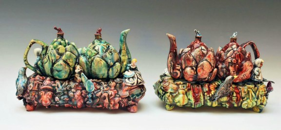 "Choke, L 18"" x H 10"" x W 4"", Slip Cast and Hand Built Earthenware, 2012"
