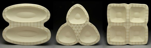 "hand-built porcelain, gold luster, cone 6, 21 x 21 x 4,"" 2013"