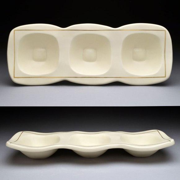"slip-cast porcelain, gold luster, cone 6, 17 x 6 x 2,"" 2014"