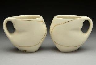slip-cast porcelain, gold luster, cone 6, 4 x 5 x 4, 2014