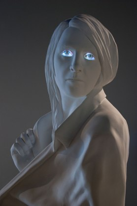 """2015, Installation at the Zuckerman Museum of Art (Kennesaw, GA), painted Aqua Resin and video projection, figure is 84"""" tall"""
