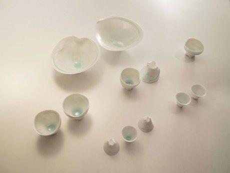Porcelain, Bowl: 24 x 24 x 12 cm, cup: 10 x 10 x 10 cm, guinomi: 6 x 6 x 6 cm, 2012