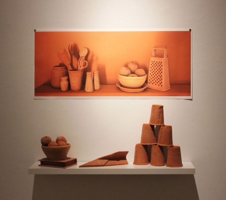 "HDR Color Photograph, Life-sized Terracotta Objects, Latex Paint, and Wood. 36""x18"" 2016"