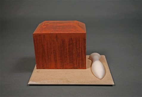 "wood, clay, glaze, 10"" x 10"" x 10"""