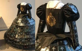 Over 750 hand-made/slabbed porcelaineous stoneware tiles, hand decorated, era-accurate dress; hand thrown/altered torso, with gold luster inlay; handmaid ceramic beads and amethyst necklace; fiber is nylon/polyester (both for waist and dress)