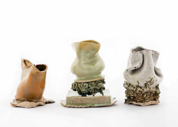 2015, approx size each object: 7 x 15 x 8 cm,. Stoneware
