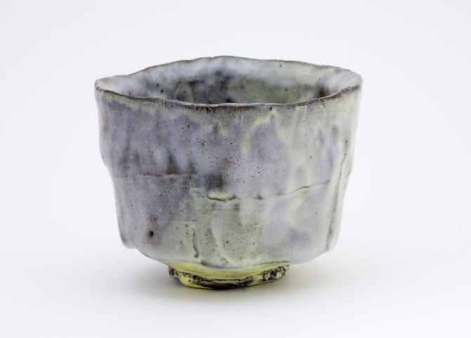 """Pinched Black Stoneware Yellow Slip, 3¾""""x4""""x4"""", 2013 and Opaque Glaze, cone 6"""