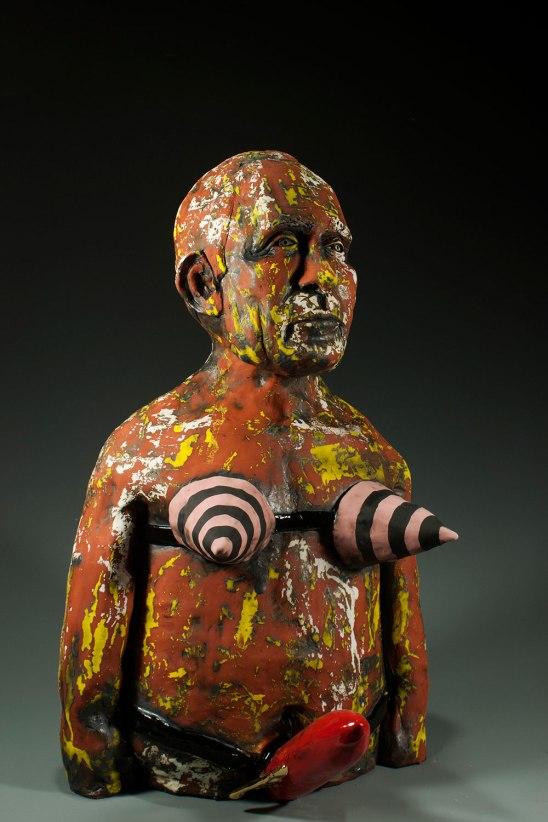 19 x 13 x 14, Ceramic (low-fire clay, oxides, terra sigillata, underglazes, glaze, goldluster, and electric-fired), 2014