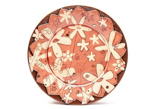 Paper Flowers Large Dinner Plate, 2014. Ceramic, slip, underglaze, glaze and luster. Paper resists, sgraffito and multi-fired in an electric kiln. 1 x 10.5 x 10.5 inches