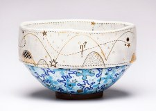 Oval Serving Bowl, 2014. Ceramic, slip, underglaze, glaze, decals & luster. Screen printed underglaze transfers, paper resists and multi-fired in an electric kiln. 5 x 8.5 x 7