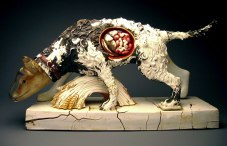 17x33x9 inches, Glazed porcelain, taxidermy, cast plastic, mixed media