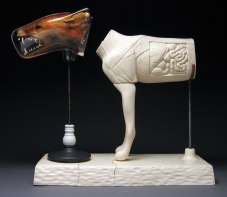 21x24x9 inches, Polished porcelain, taxidermy, cast plastic, mixed media
