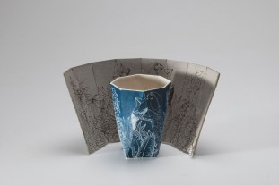 Slip-cast stoneware, laser etched mold, cobalt engobe