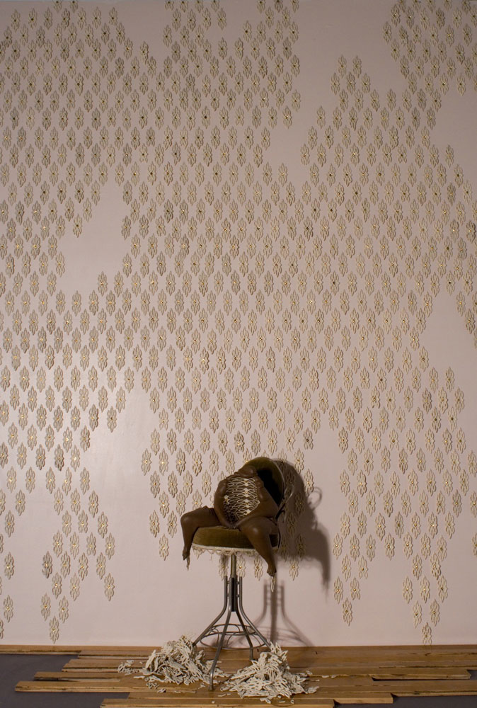 H 10' x W 11' x D 5', porcelain, luster, pins, discarded objects, 2012