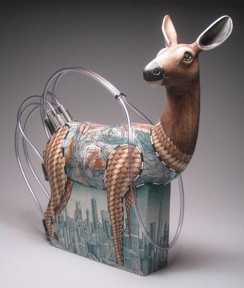 "porcelain, underglaze, resin and plastic tubing, 19"" x 24"" x 10"", 2009"