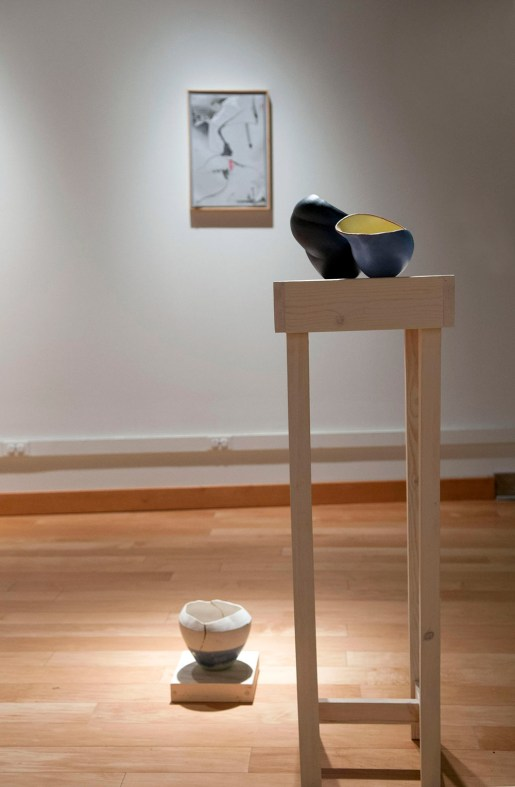 Porcelain, Cone Six Glazes, Wood, Paper, Graphite and Water Color. Dimensions Vary. 2015