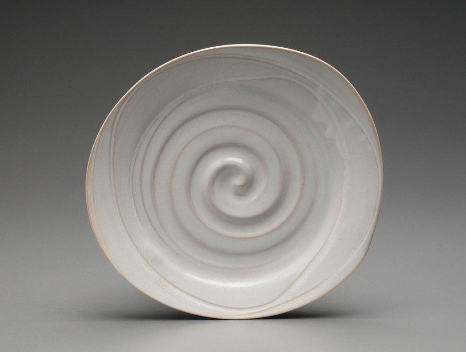 "2014, 1.5"" x 11"" x 10"" (h x w x d), Porcelain clay, Wheel thrown and altered clay that has been glazed and fired in oxidation to cone 6 in an electric kiln."