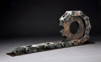 "Artifact Series, ""Gear and Chain"", Mid Fired Stoneware and Saggar Fired, H 30"" x W 96"" x D 12"", 2012"