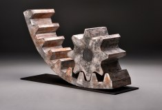 """Artifact Series, """"Gear and Sprocket"""", H 17"""" x W 28"""" x D 9"""", 2012, Soda Fired Stoneware"""