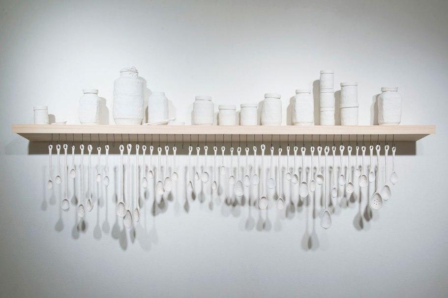 "2013, 30"" x 72"" 7.5"", porcelain, wood, steel"