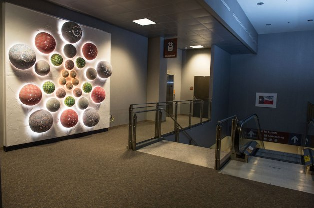 Mandala, (at Austin Bergstrom Airport, Austin, TX), Cone 6 Oxidation, Lights, 10'x10'x2'