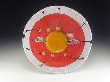 """Fruit in Fall, Terracotta, 12"""" diam x 5.25""""H, 2009"""