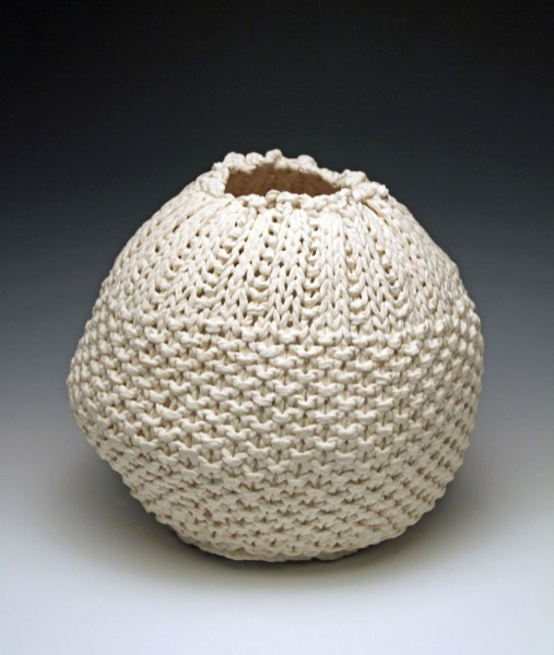 """11""""h x 13""""w x 13""""d, 2017, hand knit cotton, dipped in porcelain slip, fired cone 6 oxidation, unglazed."""