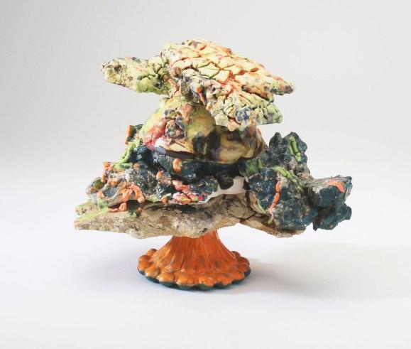 Multiple firings cone 04-10, porcelain, stoneware, slip, mason stain, and glaze
