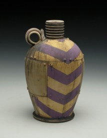 "8""H x 5""x 5""L. Earthenware, wheelthrown. Terra sigillita, underglaze. Electric fired cone 04"