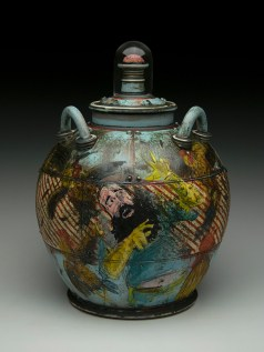 "12""H x 8""x 8""L. Earthenware, wheelthrown. Terra sigillita, underglaze. Commercial glass dome. Electric"