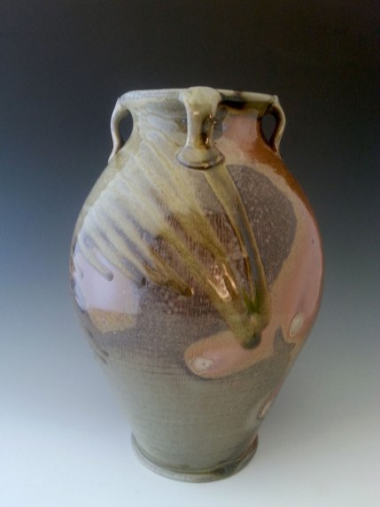 "wheel thrown, wood fired, natural ash glaze, 20""x9""x9"""