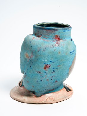 Thrown and altered stoneware, slip and glaze, 2015