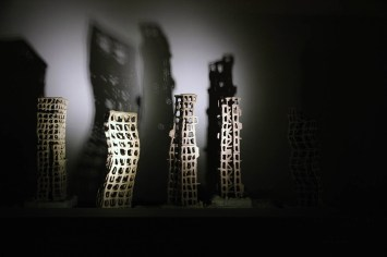 2016, Installation with Stoneware, Earth, Smell, Moving light & Sound, Variable, 10 works, 48 to 6 inches height