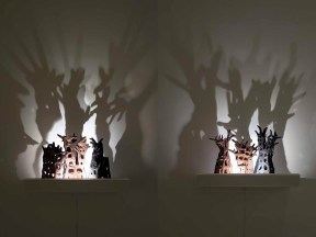 2017, Light Sculptures- Stoneware, shelf, light and shadows, Size including shadows 32 X 24 X8 inches each