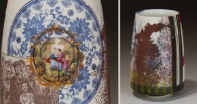 Handmade Colored Grog and Slipcast Porcelain, Sepia-Tone and Overglaze Decals (13x8x8 cm)